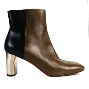 Celine Paris Leather color block bootie